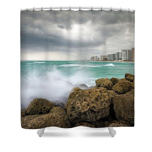 Boca Raton Florida Stormy Weather - Beach Waves Shower Curtain