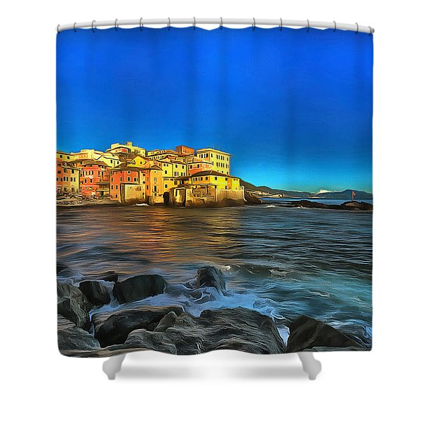 Boccadasse Beach On An Autumn Bright Sunny Day Shower Curtain