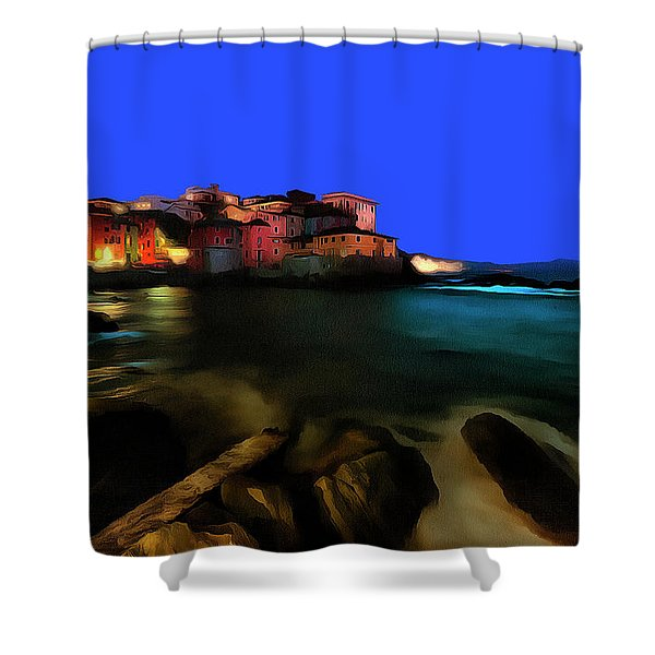 Boccadasse By Night Paint Shower Curtain