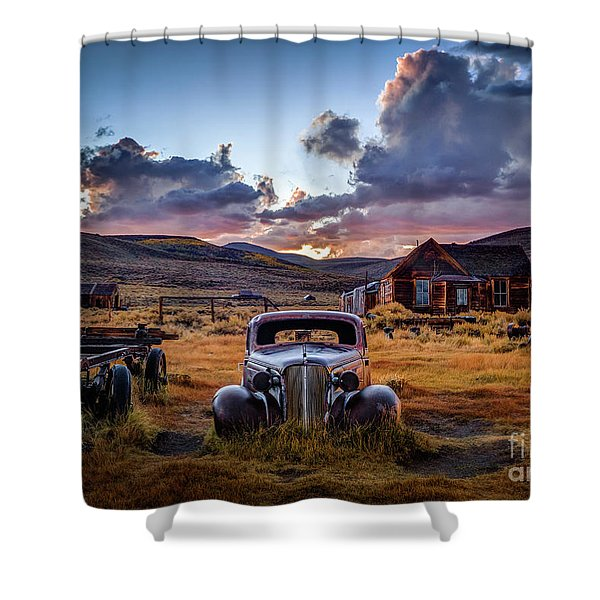 Bodie's 1937 Chevy At Sunset Shower Curtain