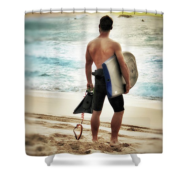 Boggie Boarder At Waimea Bay Shower Curtain