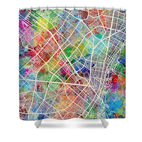 Bogota Colombia City Map Shower Curtain