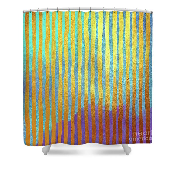 Bohemian Gold Stripes Abstract Shower Curtain