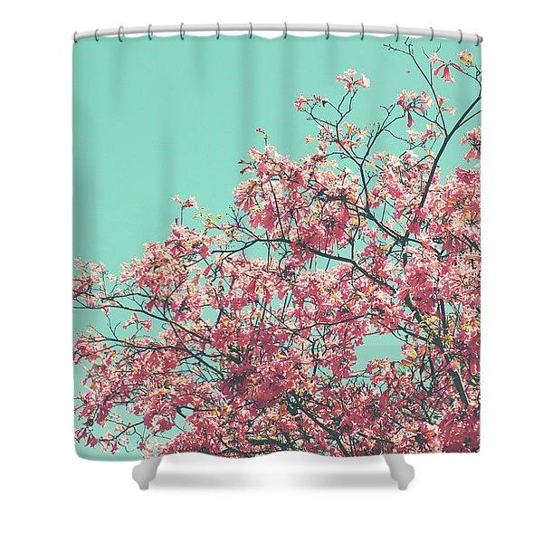 Boho Cherry Blossom 2- Art By Linda Woods Shower Curtain