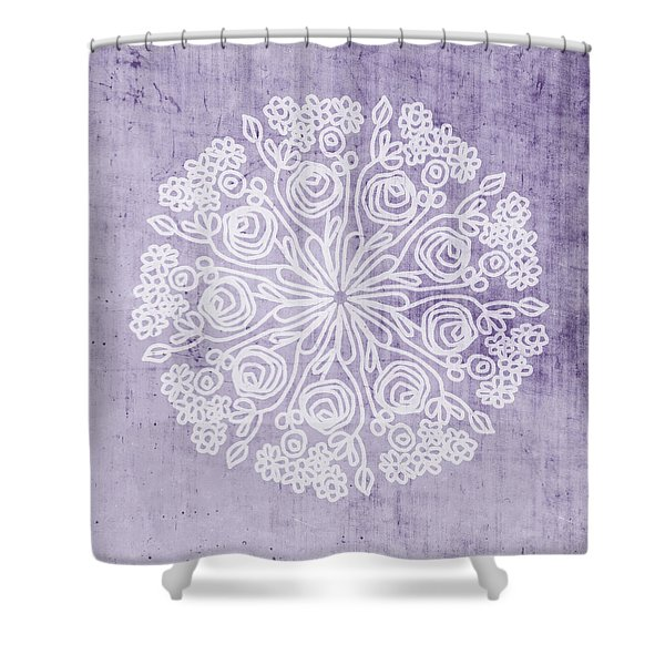 Boho Floral Mandala 1- Art By Linda Woods Shower Curtain