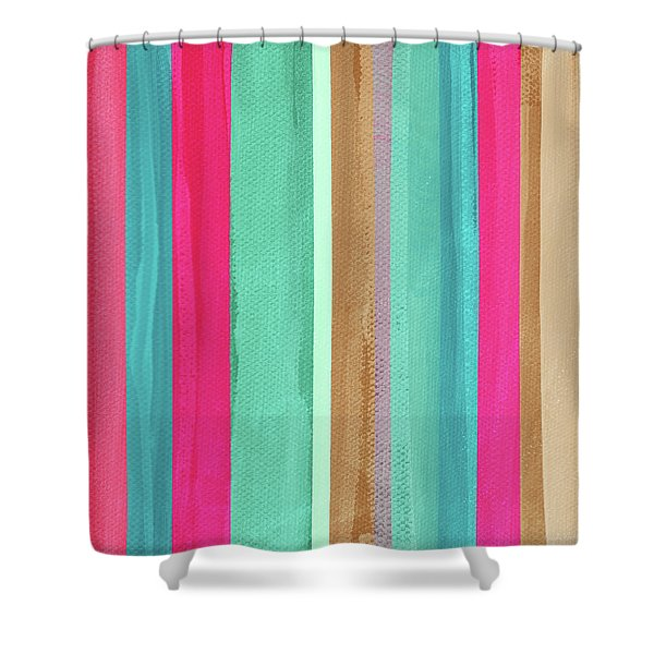 Boho Stripe- Art By Linda Woods Shower Curtain