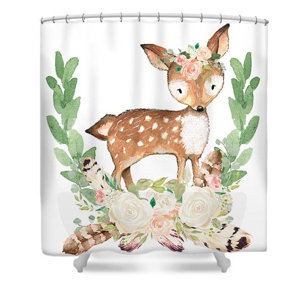 Boho Woodland Blush Dear With Feathers Shower Curtain