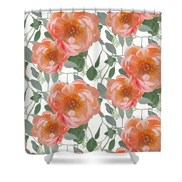 Bold Peony Seeded Eucalyptus Leaves Repeat Pattern Shower Curtain