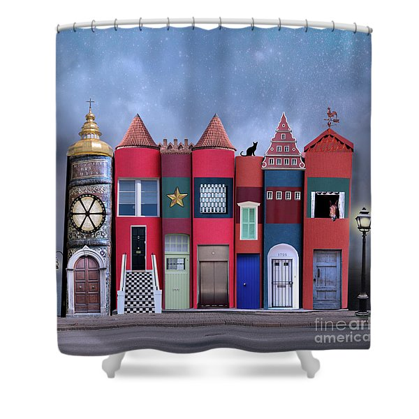 Book Houses Shower Curtain