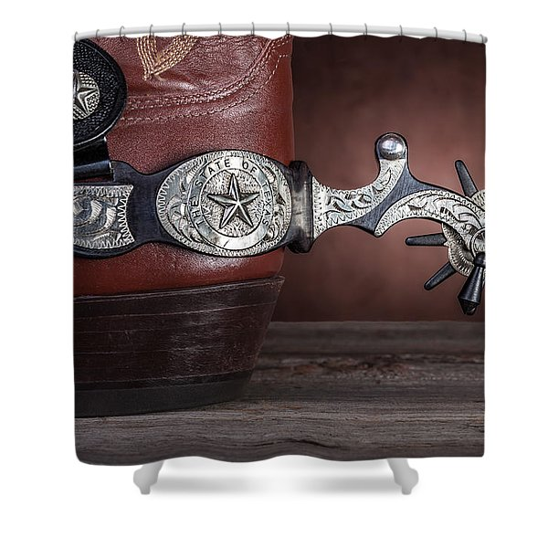 Boot Heel With Texas Spur Shower Curtain