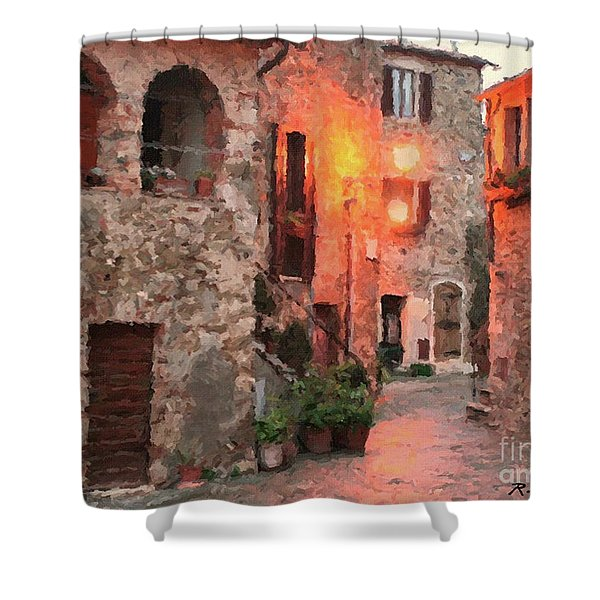 Shower Curtain featuring the painting Borgo Medievale by Rosario Piazza