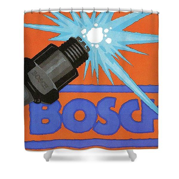 Bosch Spark Plug - Vintage Advertising Poster - Minimal Industrial Art Shower Curtain
