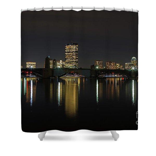 Boston Skyscrappers Behind Bridge Shower Curtain