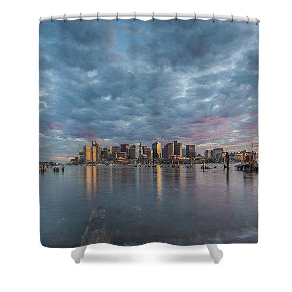 Boston From Carletons Whahrf Shower Curtain