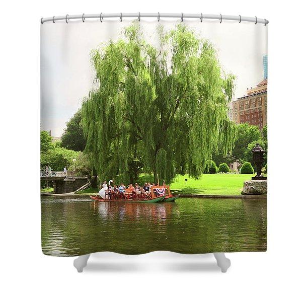 Boston Garden Swan Boat Shower Curtain