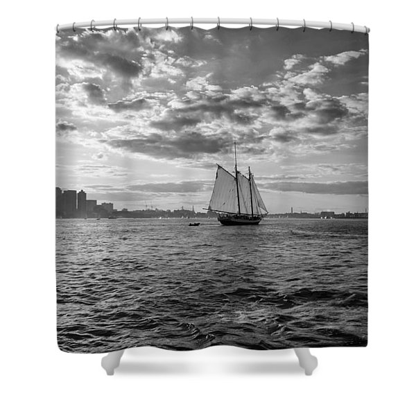 Boston Harbor Sailboat Boston Ma Black And White Shower Curtain