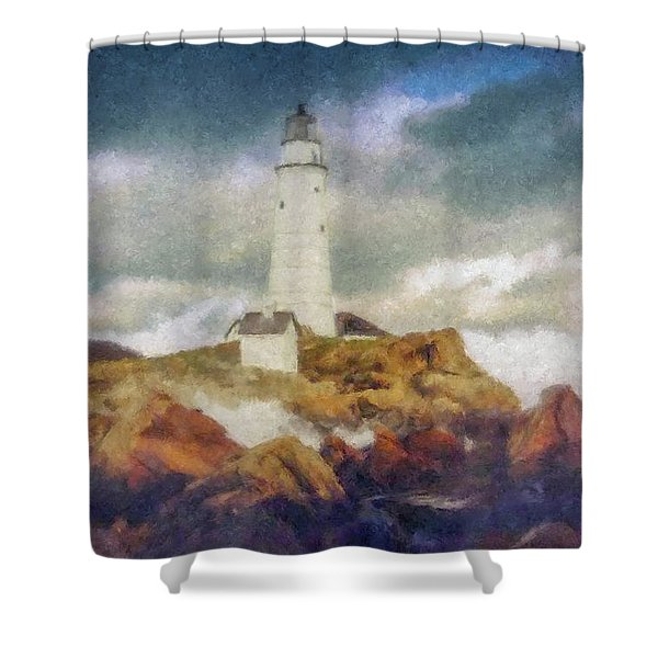 Boston Light On A Stormy Day Shower Curtain