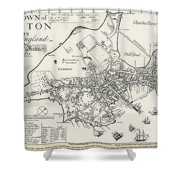 Boston Map, 1722 Shower Curtain