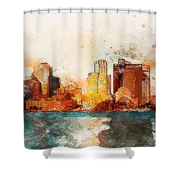 Boston, Panorama - 10 Shower Curtain