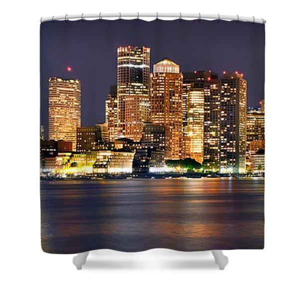 Boston Skyline At Night Panorama Shower Curtain