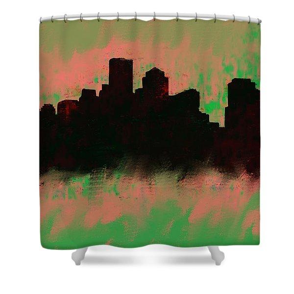 Boston Skyline Green  Shower Curtain