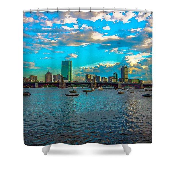 Boston Skyline Painting Effect Shower Curtain