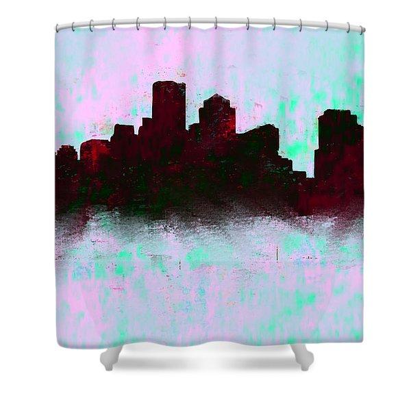 Boston Skyline Sky Blue  Shower Curtain