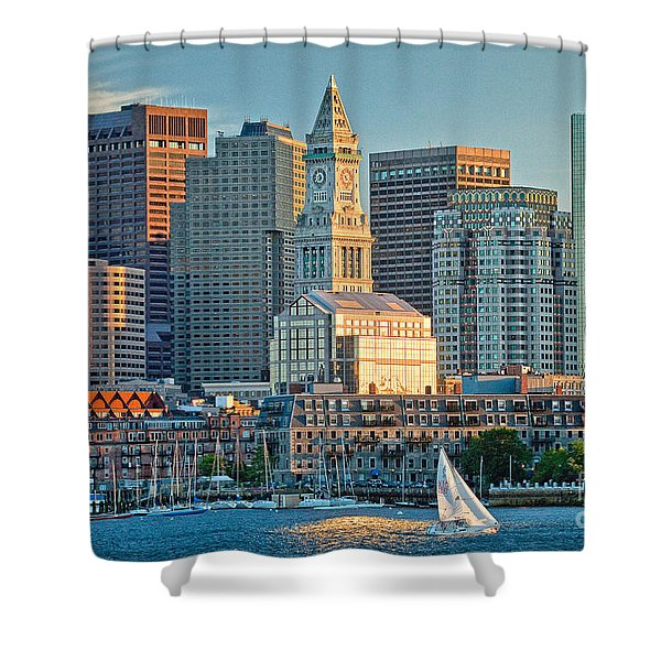 Boston Sunset Sail Shower Curtain