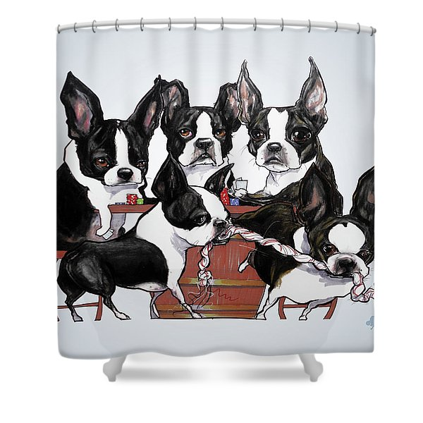 Boston Terrier - Dogs Playing Poker Shower Curtain