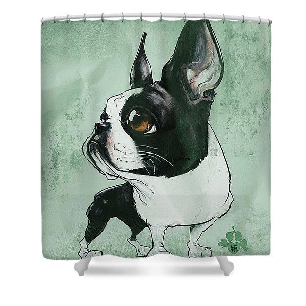 Boston Terrier - Green  Shower Curtain