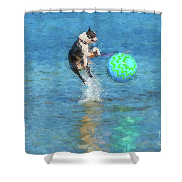 Boston Terrier Jump - Painterly Shower Curtain
