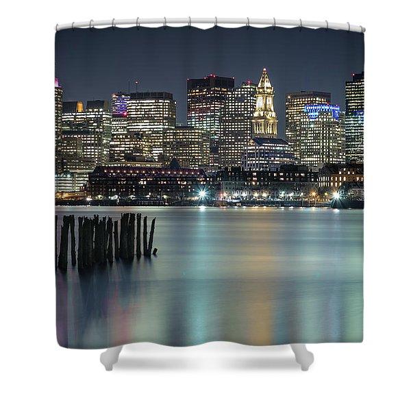 Boston's Skyline From Lopresti Park Shower Curtain