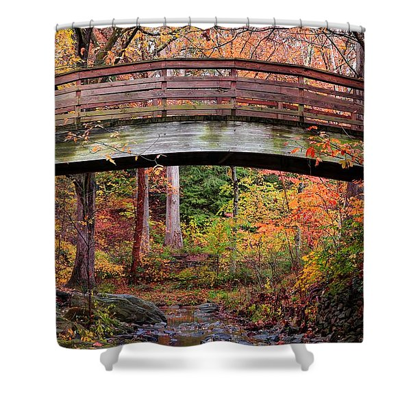 Botanical Gardens Arched Bridge Asheville During Fall Shower Curtain