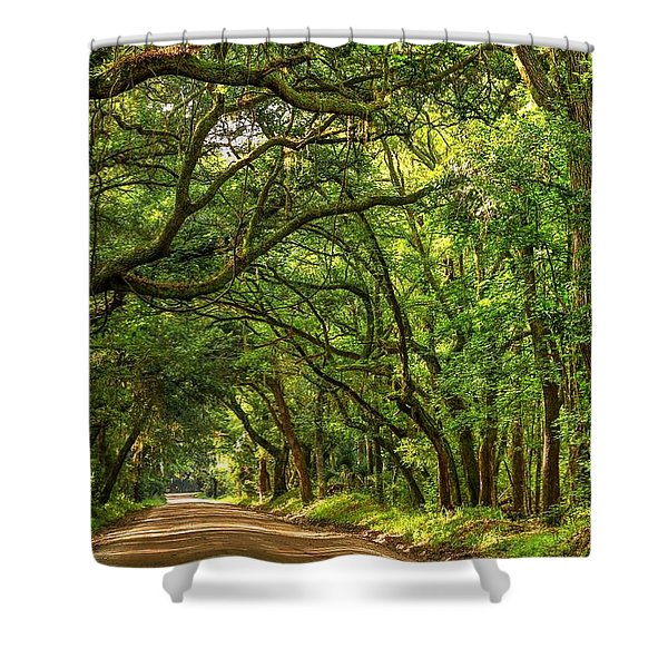 Botany Bay Edisto Island South Carolina Road Light And Shadow Shower Curtain