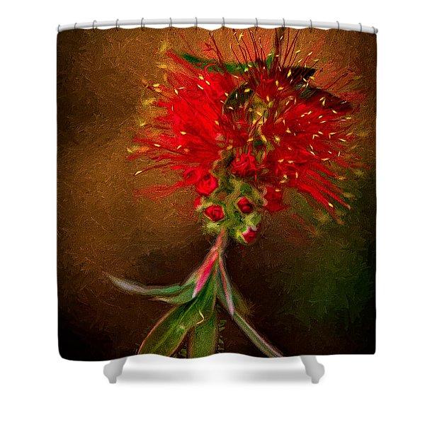 Bottle Brush Flower Shower Curtain