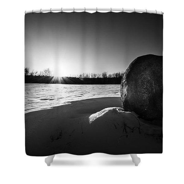 Boulder At Sunset Shower Curtain