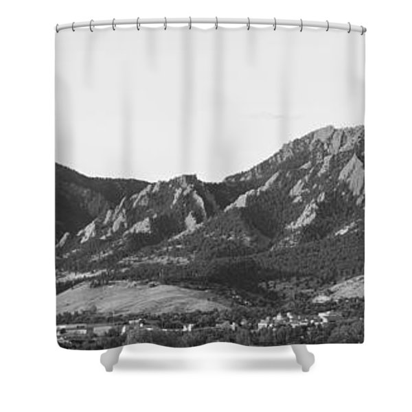 Boulder Colorado Flatirons And Cu Campus Panorama Bw Shower Curtain