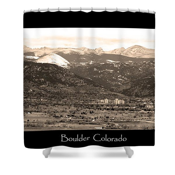 Boulder Colorado Sepia Panorama Poster Print Shower Curtain