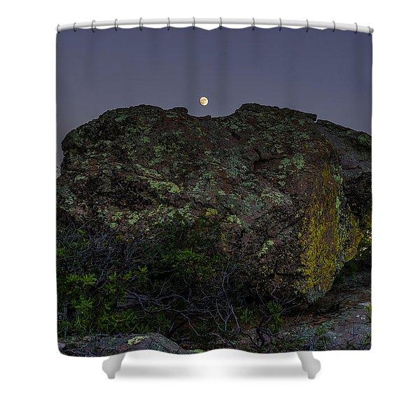 Boulder Moonrise Shower Curtain