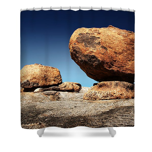 Boulder On Solid Rock Shower Curtain