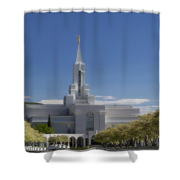 Bountiful Utah Temple In Spring Shower Curtain