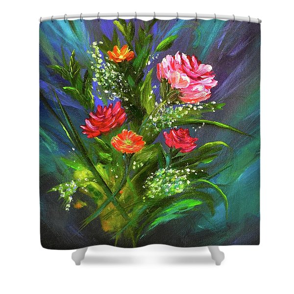 Shower Curtain featuring the painting Bouquet by Mary Scott