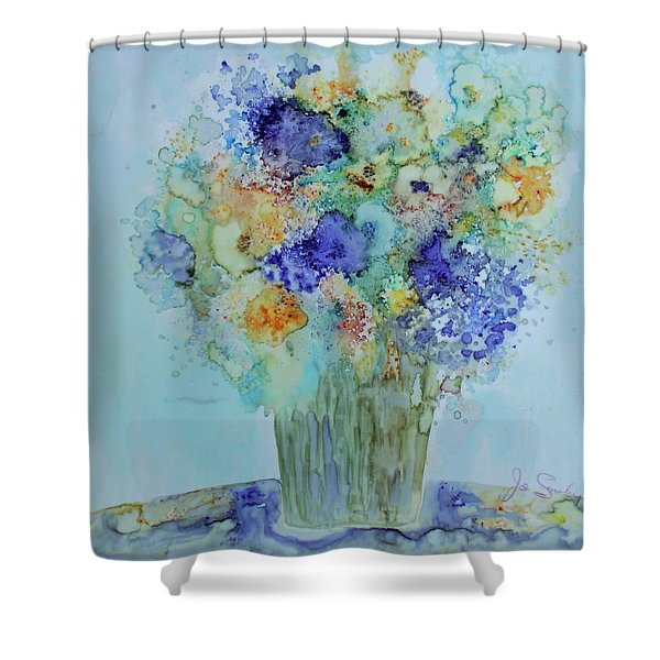 Bouquet Of Blue And Gold Shower Curtain