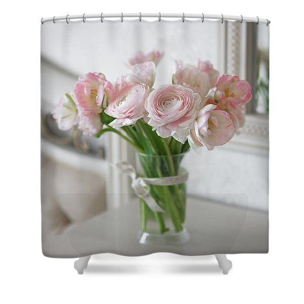 Bouquet Of Delicate Ranunculus And Tulips In Interior Shower Curtain