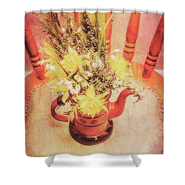 Bouquet Of Dried Flowers In Red Pot Shower Curtain