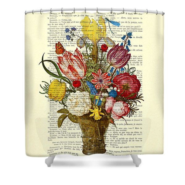 Bouquet Of Flowers On Dictionary Paper Shower Curtain