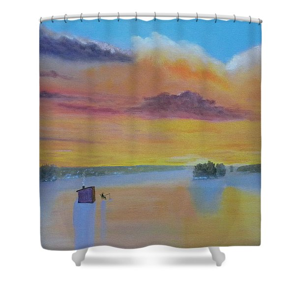 Bow Lake Ice Fishing Shower Curtain