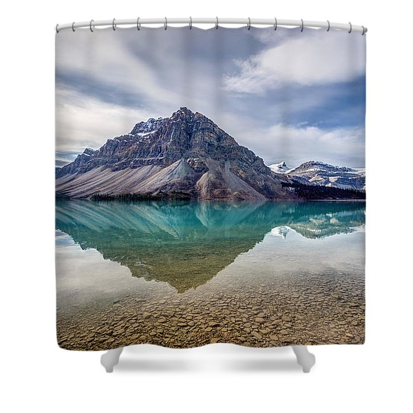 Bow Lake Reflection From Num-ti-jah Lodge  Shower Curtain