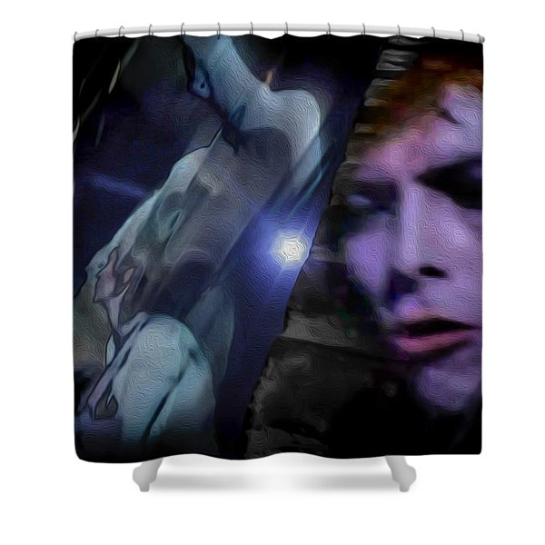 Bowie   A Welcome Star Shower Curtain