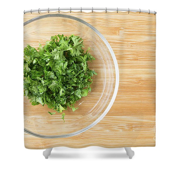 Bowl Of Chopped Parsley Shower Curtain